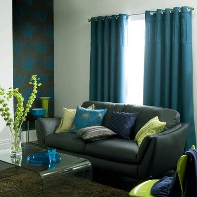 teal curtains gray couch LAUREN Pinterest Teal curtains - teal living room curtains