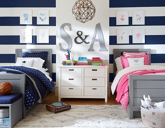 I love the Pottery Barn Kids Hearts and Stars Shared Spaces on - boy and girl bedroom ideas