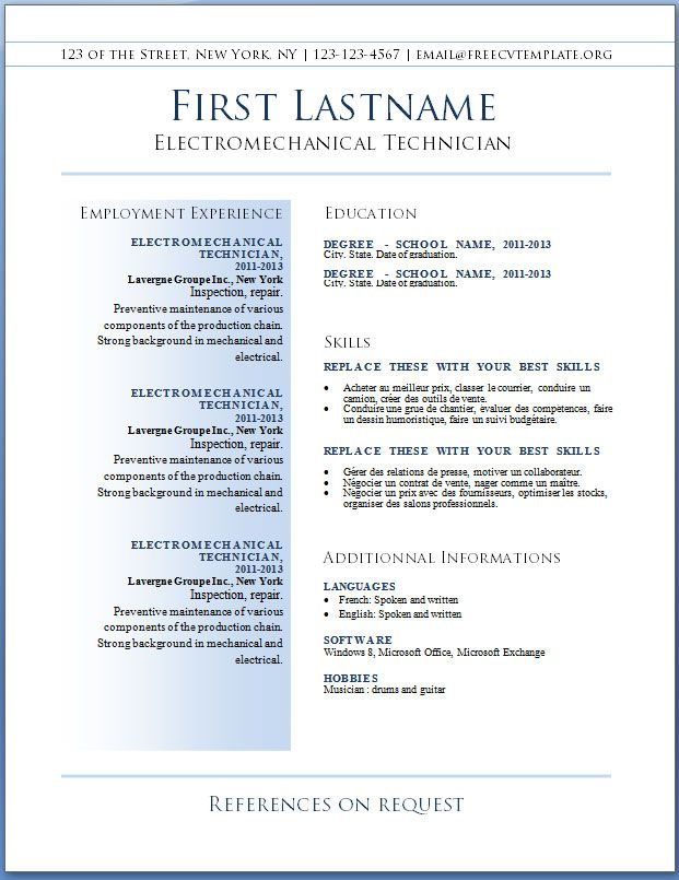 Resumes, The Best Resume Template Free Sample And Job Description - resume samples free download