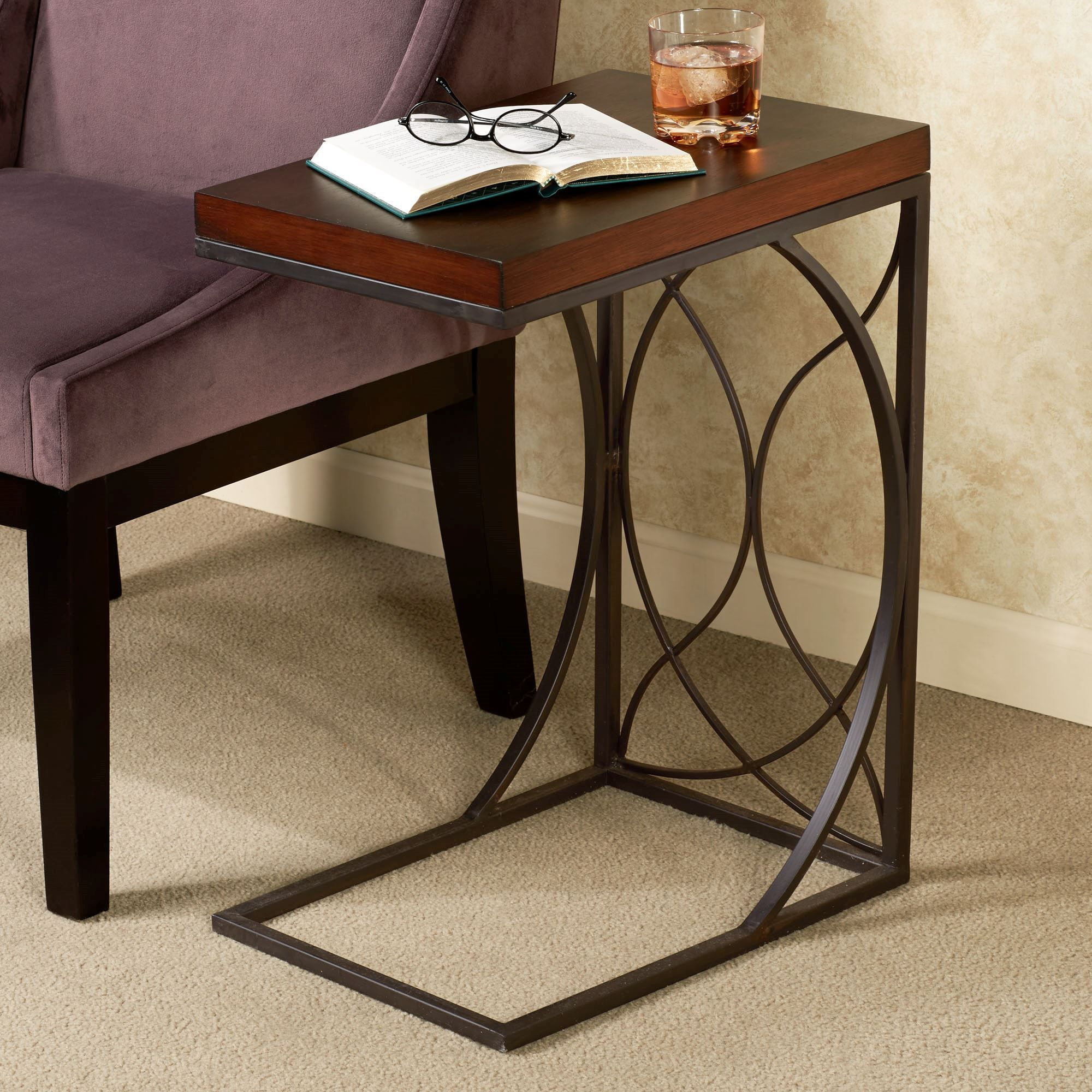 Iron Side Tables For Living Room Rustic Bronze Polished Iron C Shape Based Sofa Side Table