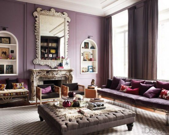 Purple Living Room Interior Decoration with Contemporary Style - elle decor living rooms