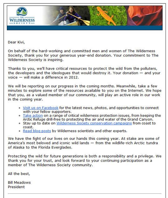 Kivi shared this amazing thank you letter from The Wilderness - ending thank you letters