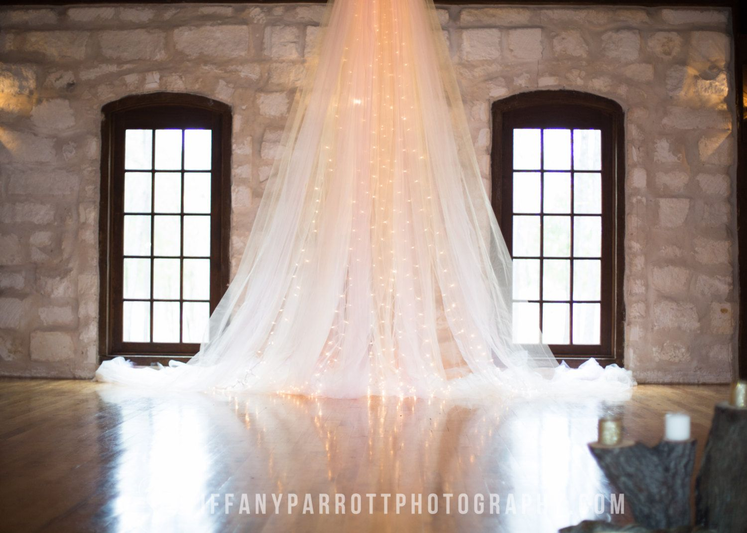 Diy Wedding Backdrop With Lights Tulle And Lights Backdrop 250 00 Via Etsy Happily