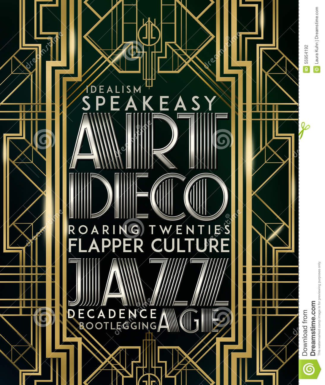 Art Deco Stile Gatsby Style Art Deco Jazz Era Stock Illustration Image