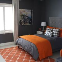 Stylish Orange And Dark Gray Bedding To Cover Gray Painted ...