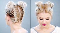 Double Braided Space Buns On Short Hair | Milabu | H A I R ...