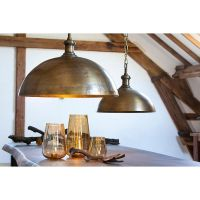 Industrial Style Dome Pendant Light in Brass Finish, 27.5w ...