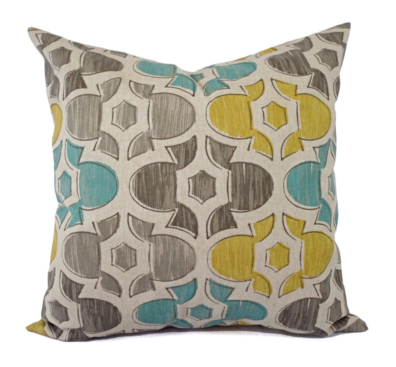 Brown yellow and blue decorative pillow covers two geometric throw pillow covers yellow pillow