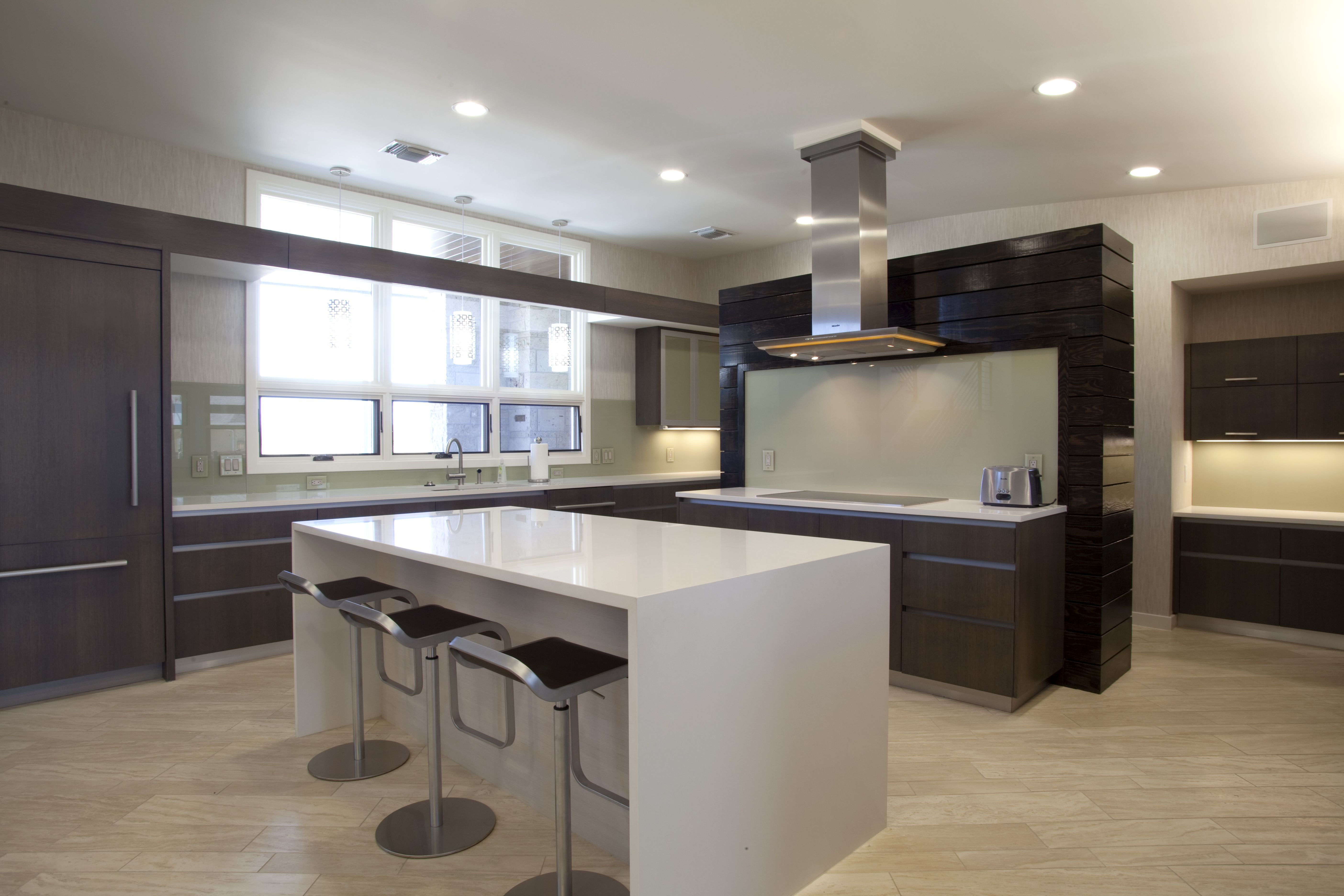 Kitchen Island With Different Countertop White Quartz Countertop In Showing The Luxurious Kitchen