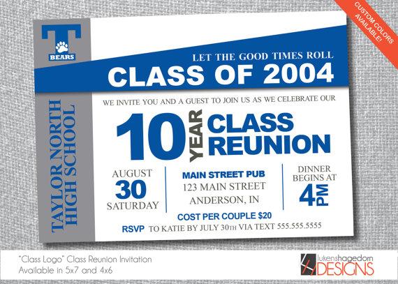 Blue Banner Class Reunion Invitation 10 year class reunion - class reunion invitation template