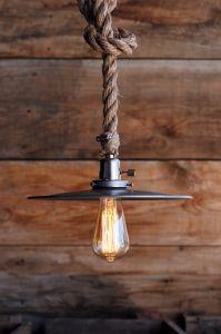 The Bunker Pendant - metal Hanging Rope pendant light ...