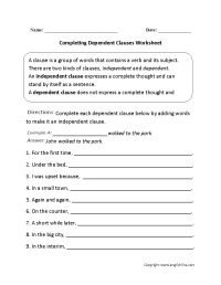 Completing Dependent Clauses Worksheet | Englishlinx.com ...
