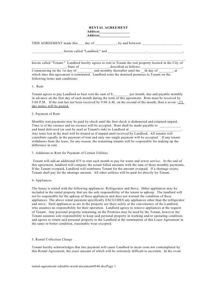 Printable Sample Simple Room Rental Agreement Form Sample - agreement form sample