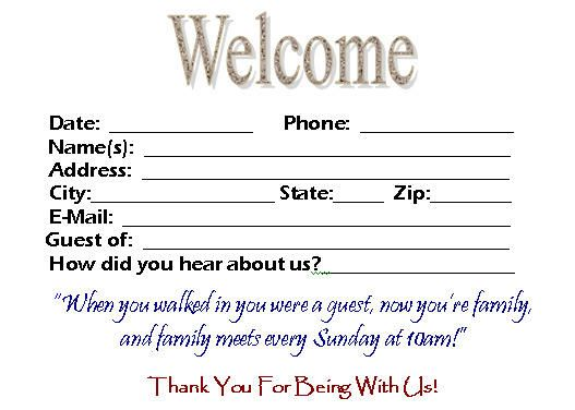Download this visitor card (click the link below) Church Visitor - guest card template