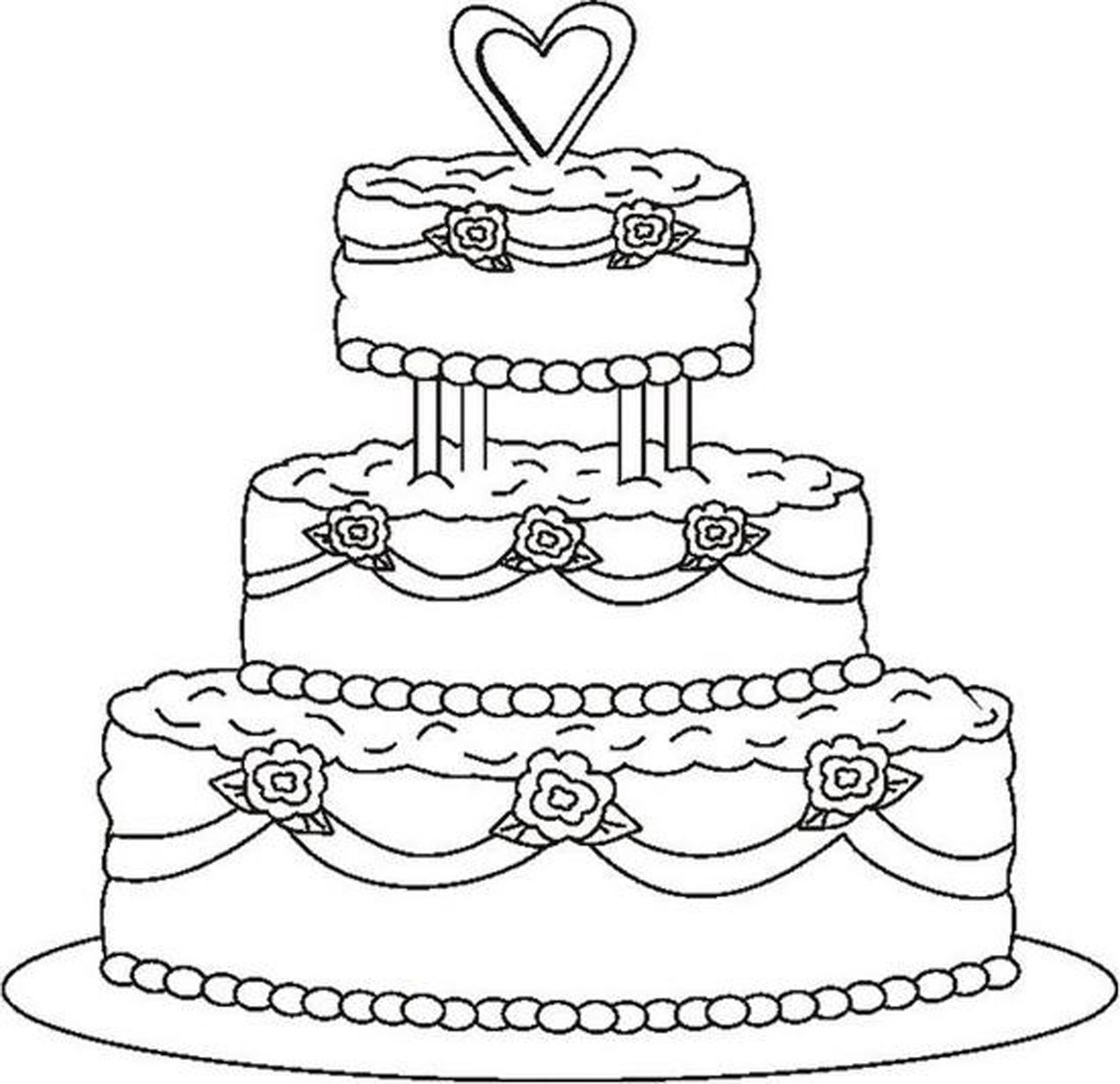 Drawing Cake Colour Wedding Coloring Pages Coloring Kids Stencils