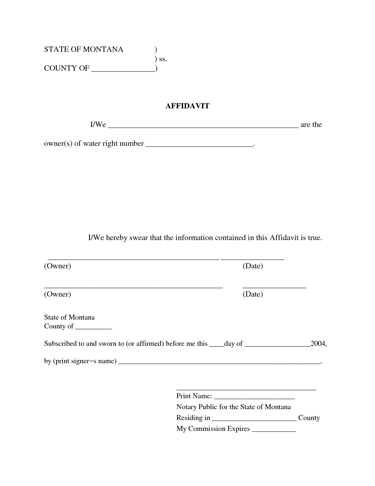 Affidavit Form Nevada Free – Free Affidavit Form Template