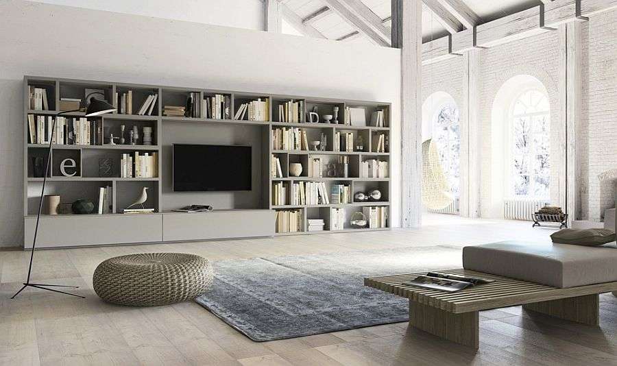 Living room wall unit with side panels, shelves, TV compartment - living room shelf unit