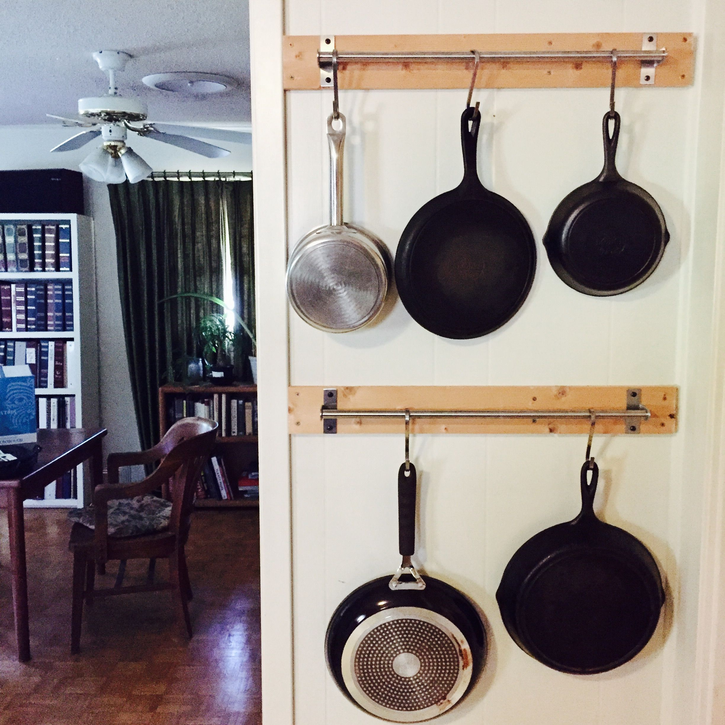 Ikea Pot Hanger Diy Wall Hanging Pans 1x4s And Ikea Hanging Rods My