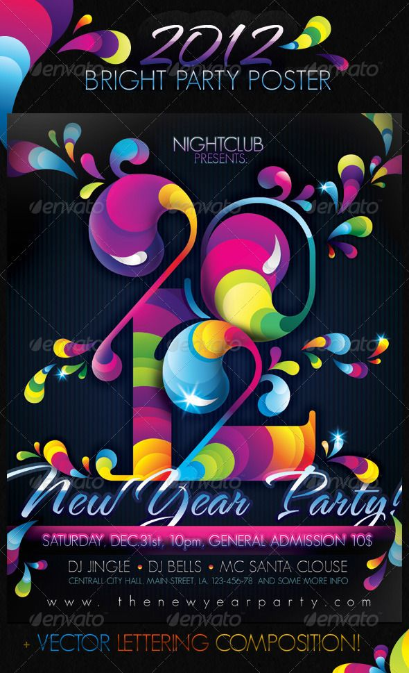 2012 Bright Party New Year Poster u2014 Photoshop PSD #midnight - new year poster template