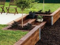 patio and timber retaining wall   How to Build Wood ...