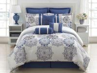 9 Piece Queen Kasbah Blue and Gray Comforter Set | Grey ...