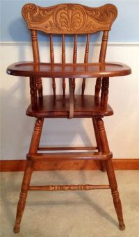 Vintage Carved Wooden Baby High Chair Solid Wood Toddler ...
