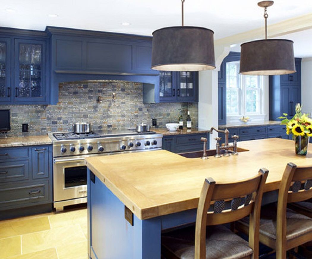 Blue Cabinets In Kitchen Blue Kitchen Cabinets With Wood Countertops Google