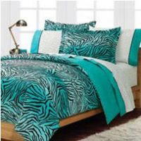 Teal Turquoise Blue And White Zebra Print Bedroom Ideas ...