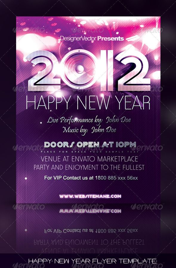 Happy New Year Flyer\/Poster Template Photoshop, Print templates - new year poster template