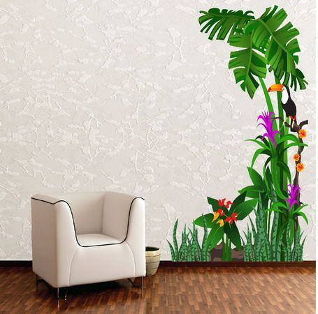 Tropical Nature Birds and Tree Wall Stickers Lobby Design - designs for walls