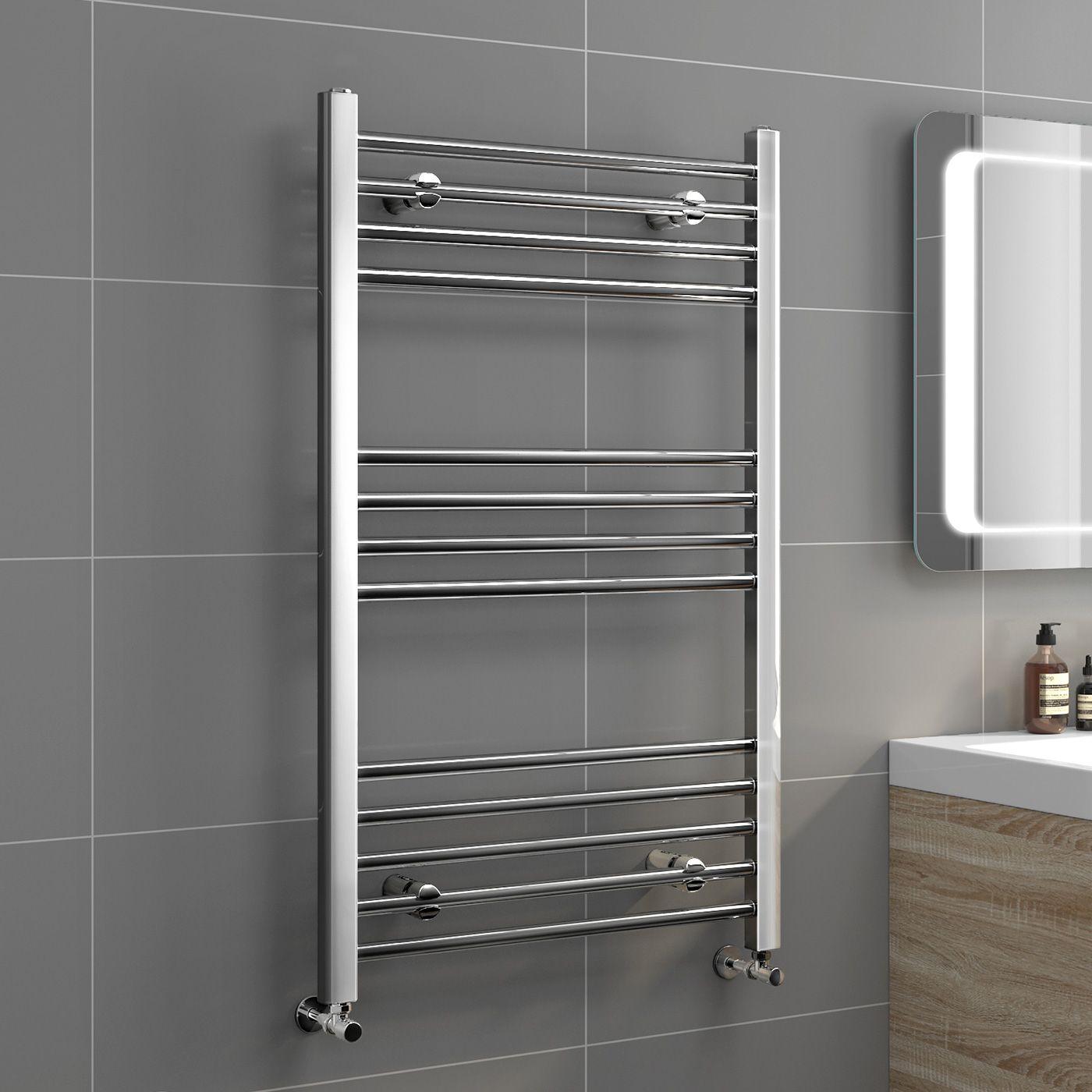 1000x600mm 20mm tubes chrome heated straight rail ladder towel radiator natasha basic