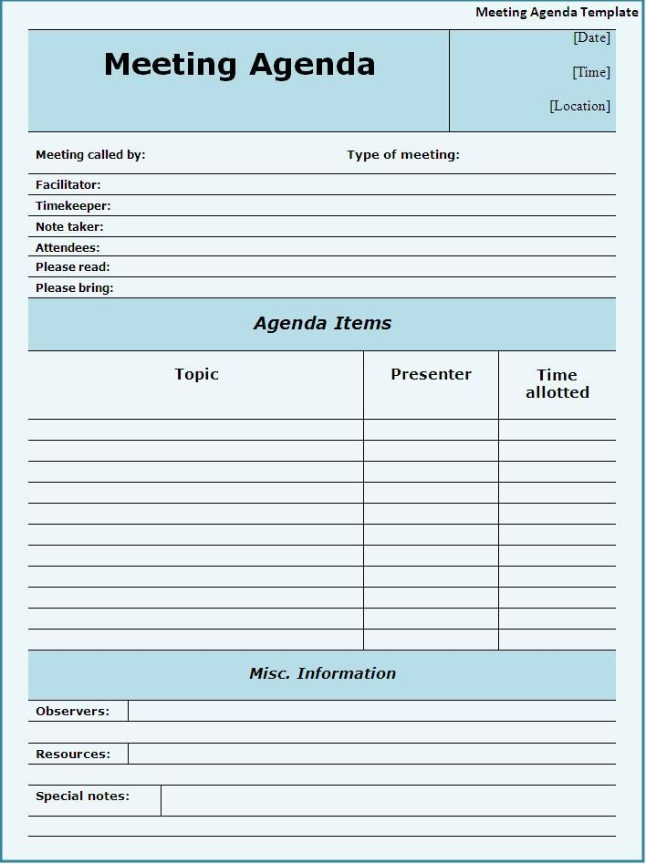 meeting agendas templates Meeting Agenda Template Download Page - meeting planning template