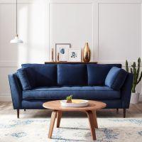 James Mid Century Sonoma Navy Blue Sofa (Fabric) | Navy ...
