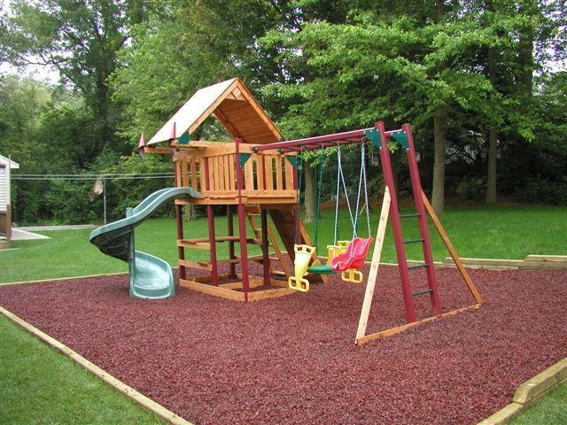 Kids friendly backyard landscape ideas with wooden kids playground - home playground ideas