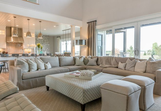 Neutral Living room Sophisticated but comfy living room featuring - living room ottoman