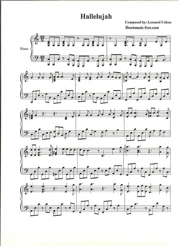 Hallelujah Piano Sheet Music Leonard Cohen Piano Sheet Music Free - music staff paper template