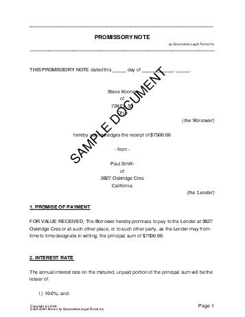 Printable Sample Promissory Note Form Form Real Estate Forms - draft promissory note agreement