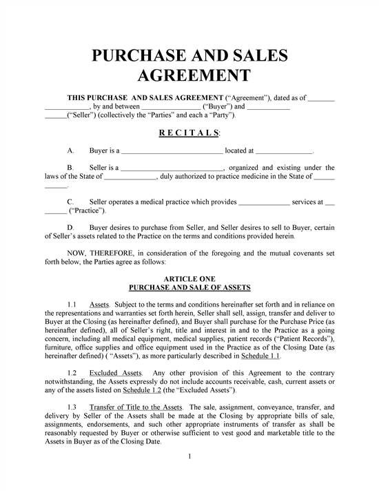 Purchase And Sales Agreement-Basic- With Exhibits REALCREFORMS - sample business purchase agreement