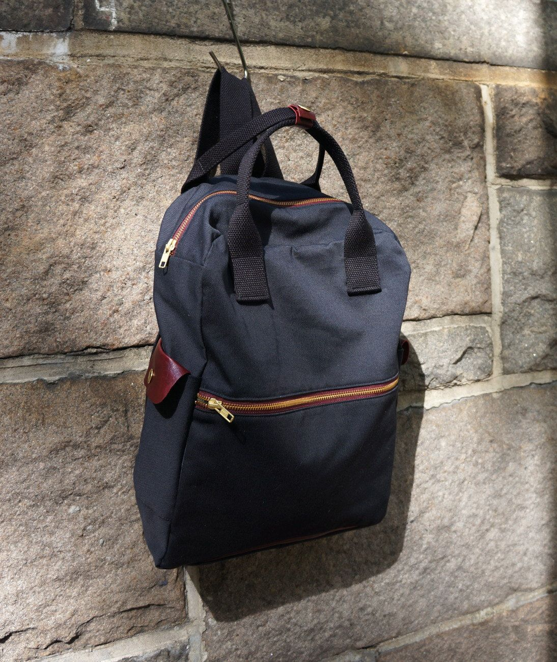 Cosmo backpack in black canvas twill men messenger laptop bag school bag leather bag fashion bag large capacity bag back to school