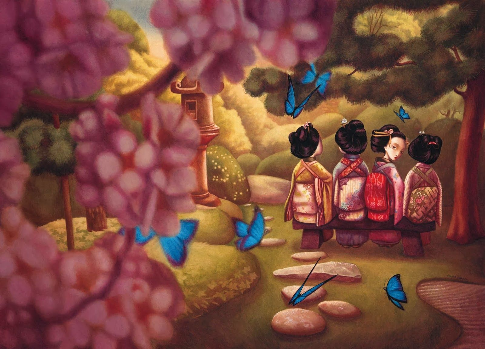 Libro Madame Butterfly Benjamin Lacombe Illustration Japanese Garden