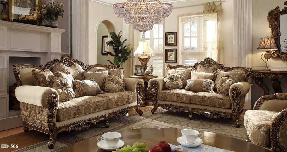 Homey Design 7-pc Italian Style Traditional Living Room Set - italian living room sets