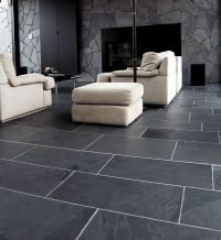 I love this room with the large slate subway tiles. Very