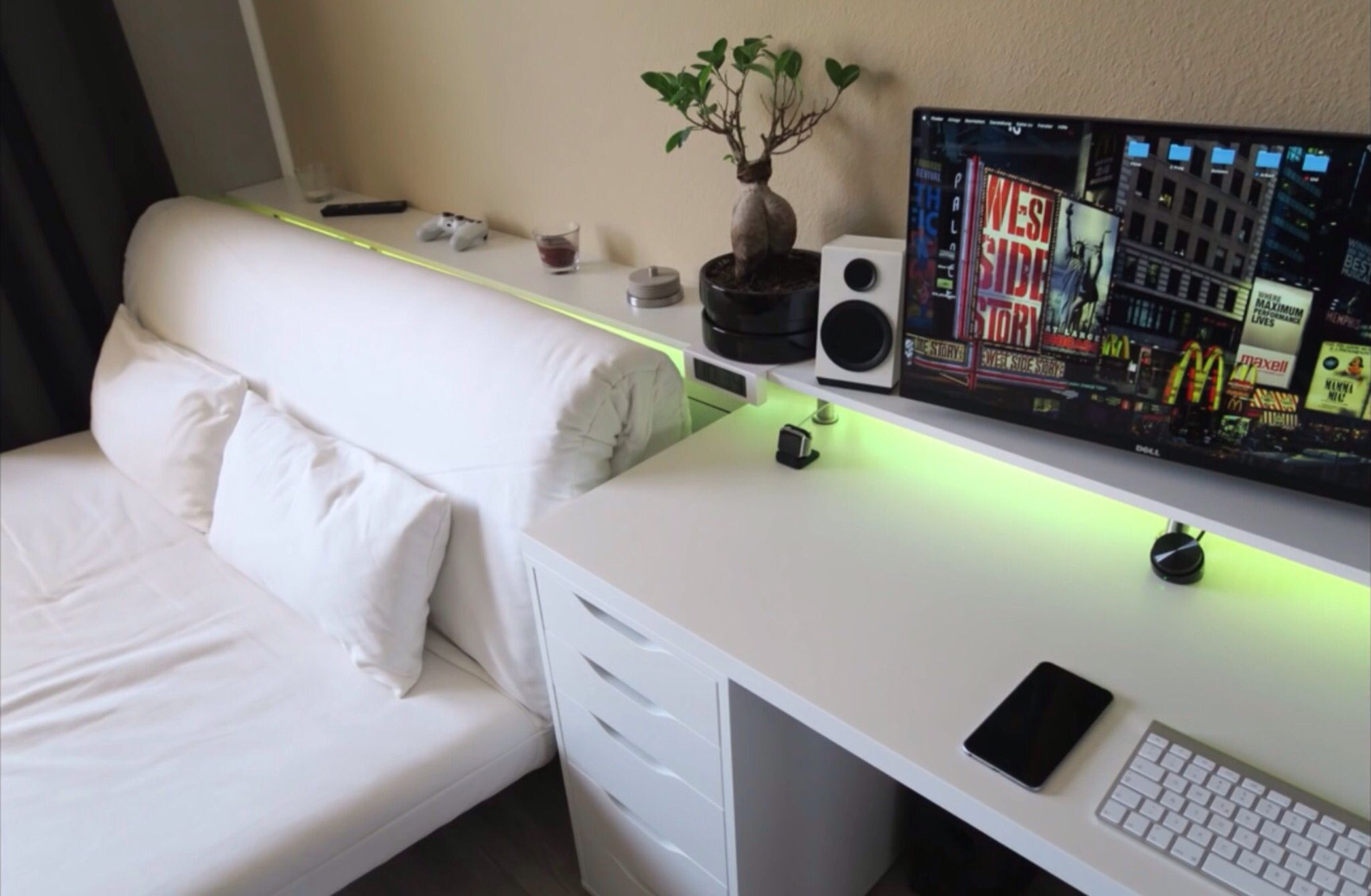 Apartment Computer Desks Bedroom Gaming Setup Tech Pinterest Gaming Setup