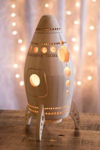 Wooden Rocket Ship Night Light - Nursery / Baby / Kid Lamp ...