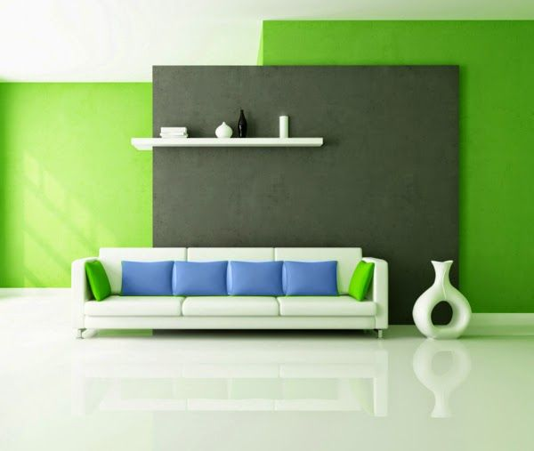 living room color schemes ideas, green wall paint, blue pillows - living room color combinations