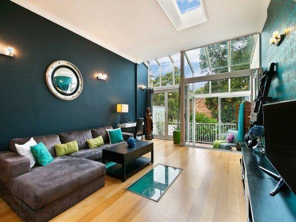 deep teal wall color modern living room decor ideas brown sofa - living room ideas brown sofa