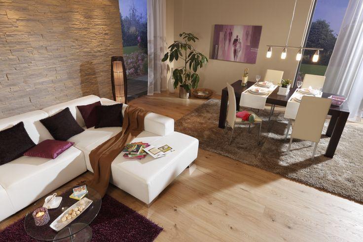 Wohnzimmer Esszimmer beige braun Steinwand Laminat Teppich - steinwand wohnzimmer braun