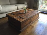 CHUNKY RUSTIC COFFEE TABLE CHEST SOLID WOOD DARK OAK STAIN ...