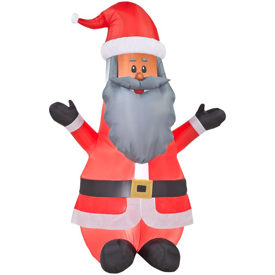 Shop gemmy inflatable airblown african american santa outdoor christmas decoration with led white lights at lowes
