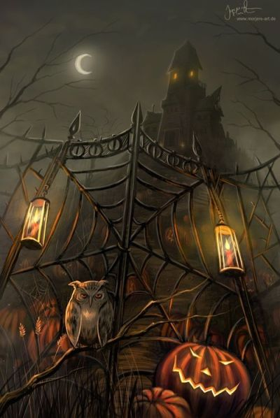 haunted house jack-o-lantern owl Halloween iPhone wallpaper background holiday Halloween art ...